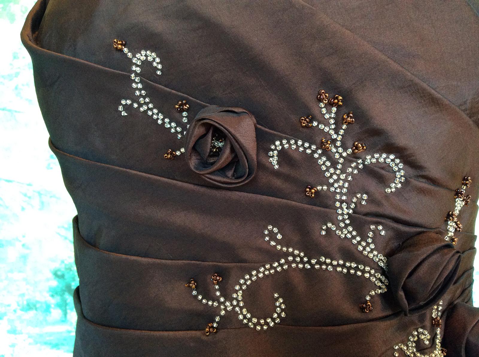 Robe bustier longue rebrodée de perles #7