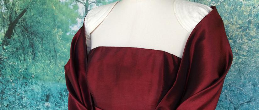 Robe bustier longue en taffetas rouge